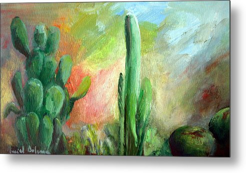 Floral Painting Metal Print featuring the painting Lumiere De Desert by Muriel Dolemieux