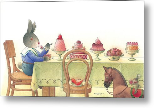 Rabbit Birthday Delicious Metal Print featuring the painting Rabbit Marcus The Great 10 by Kestutis Kasparavicius