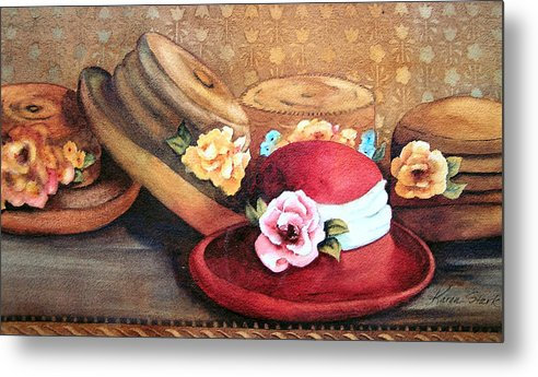 Hat Metal Print featuring the painting Red Hat by Karen Stark
