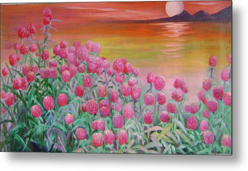 Floral Metal Print featuring the painting Red Pearls by Lian Zhen