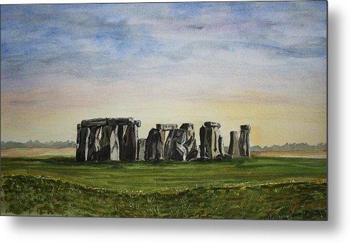 Stonehenge. Britian. Uk. England. Ancient. Metal Print featuring the painting Stonehenge by John Cox