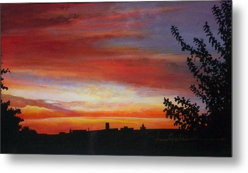 Sunrise Metal Print featuring the painting Sunrise Over The Little Miami by Anne Rhodes