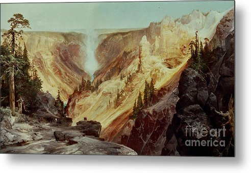 The Grand Canyon Of The Yellowstone Metal Print featuring the painting The Grand Canyon Of The Yellowstone by Thomas Moran
