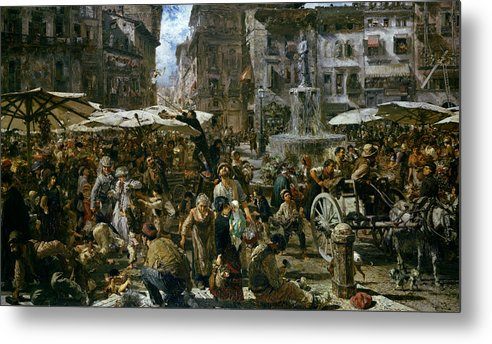The Metal Print featuring the painting The Market Of Verona by Adolph Friedrich Erdmann von Menzel