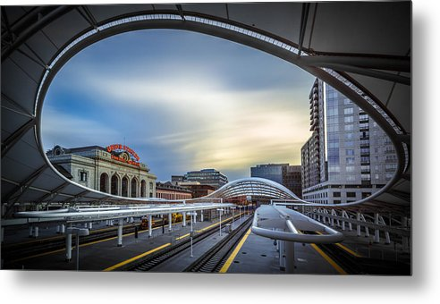 Architecture Metal Print featuring the photograph Union Station Denver - Slow Sunset by Jan Abadschieff