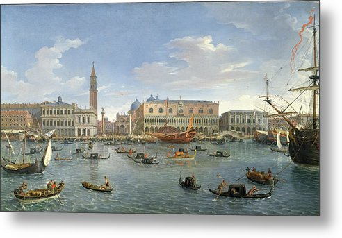 View Metal Print featuring the painting View Of Venice From The Island Of San Giorgio by Gaspar van Wittel