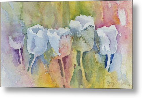 Impressionistic Metal Print featuring the painting White Tulips by Jerry Kelley