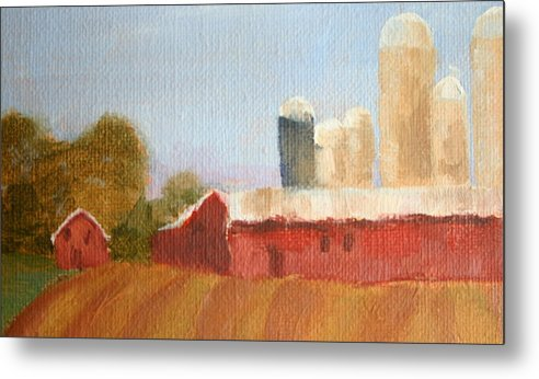 Wisconsin Metal Print featuring the painting Wisconsin Farmland by Martha Layton Smith