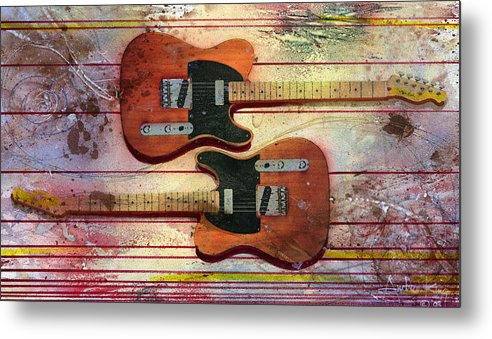 Guitar Metal Print featuring the painting Yin-yang Teles by Andrew King