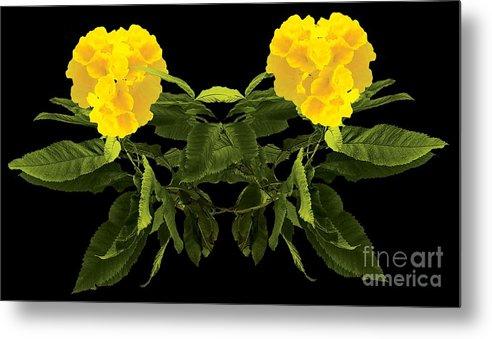 Wall Art Metal Print featuring the digital art Beautiful Yellow Flower by Anita Morya