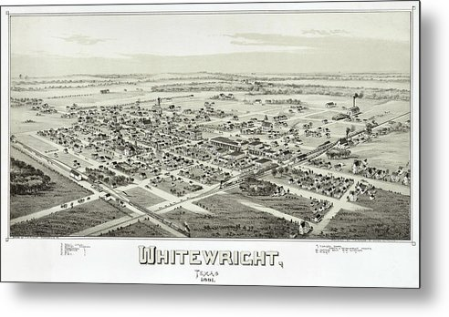 Map Metal Print featuring the photograph 1891 Vintage Map Of Whitewright Texas by Stephen Stookey