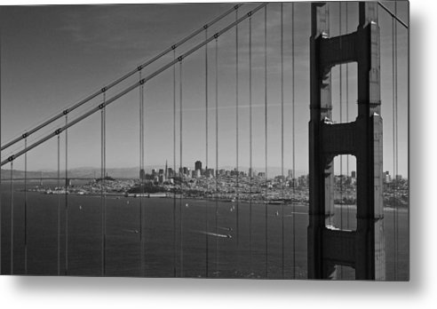 San Francisco Metal Print featuring the photograph San Francisco Through Golden Gate Bridge by Twenty Two North Photography