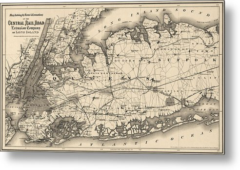 Map Of New York City And Long Island.Antique Map Of Long Island And New York City 1873 Metal Print