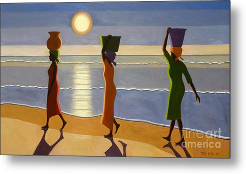 3 Metal Print featuring the painting By The Beach by Tilly Willis