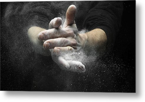 Magnesium Carbonate Metal Print featuring the photograph Chalked Hands, High-speed Photograph by Science Photo Library