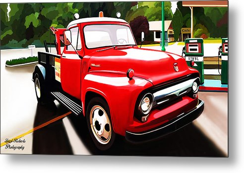 Red Tow Truck Metal Print featuring the photograph The Red Tow Truck by Laird Roberts