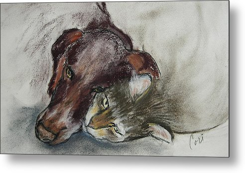 Dog Metal Print featuring the drawing Whisker To Whisker by Cori Solomon