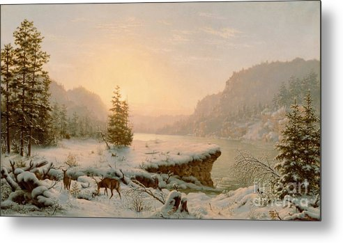 Scene; Remote; American; Landscape; Countryside; Rural; Wilderness; Deer; Animal; Animals; Nature; Snow; Snow-covered; Fir-tree; Fir; Tree; Trees; Firs; Lake; River; Dawn; Dusk; Morning; Evening; Sunrise; Sunset; Atmospheric; Beauty; Beautiful; Spectacular; Majestic; Buck Metal Print featuring the painting Winter Landscape by Mortimer L Smith