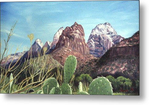 Zion Metal Print featuring the painting Zion National Park by Sharon Casavant