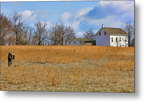 Bucks County Metal Print featuring the photograph Artist In Field by William Jobes