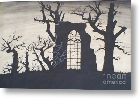 Gothic Metal Print featuring the drawing Gothic Landscape by Silvie Kendall
