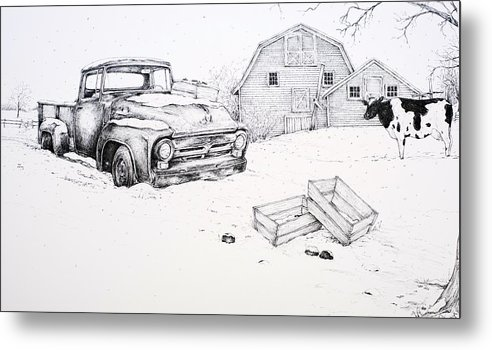 Pen And Ink Metal Print featuring the drawing Late Season Apples by Scott Nelson