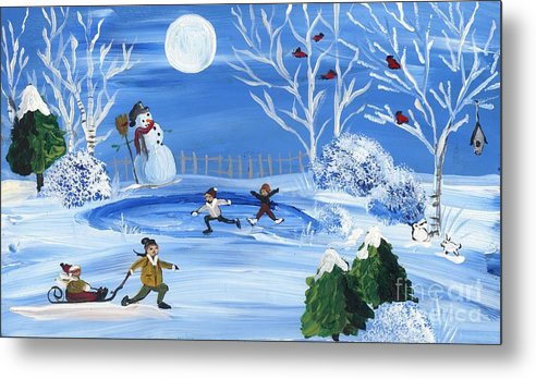 Winter Skating Metal Print featuring the painting Night Skating by Sylvia Pimental