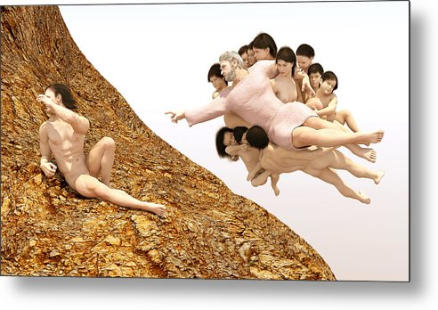 The Creation Of Athiest Metal Print featuring the digital art The Creation Of Athiest by Rainbow Sculptor