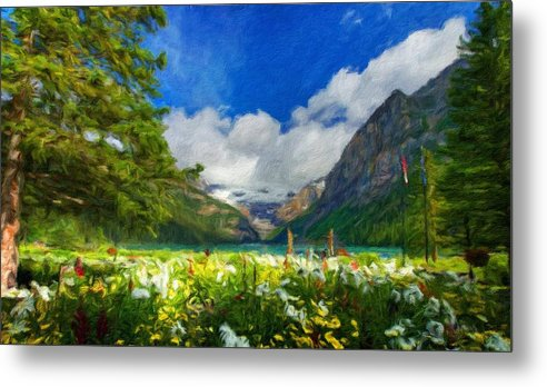 Landscape Metal Print featuring the painting Landscape Nature by World Map