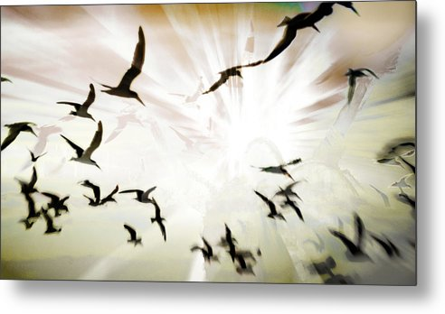 Digital Photography Metal Print featuring the photograph Birds Explosion by Tony Wood