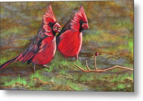 Bird Artwork Metal Print featuring the pastel Cardinal Two by Tracey Hunnewell