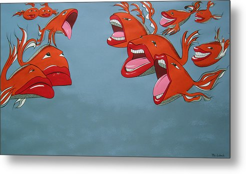Seascape Metal Print featuring the painting Fish Fight by Patricia Van Lubeck