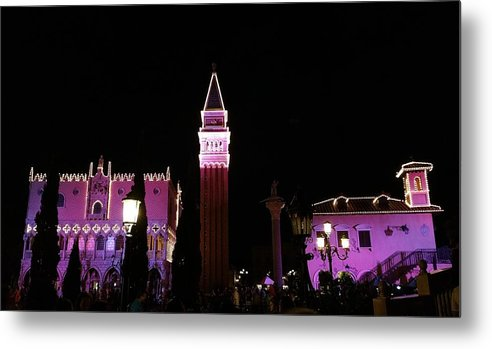 Night Photography Metal Print featuring the photograph Italy Pavilion by Monica Wellman