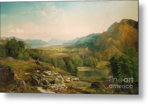 Thomas Moran Metal Print featuring the painting Minding The Flock by Thomas Moran