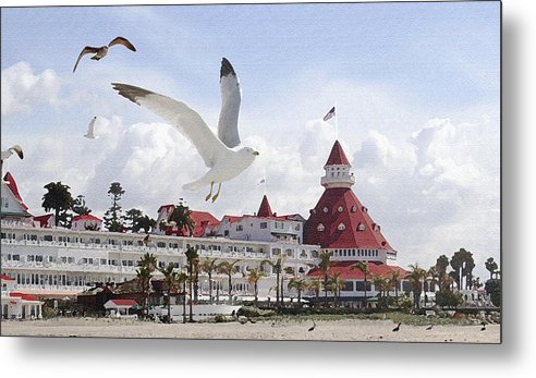 Beach Metal Print featuring the photograph Morning Gulls On Coronado by Margie Wildblood