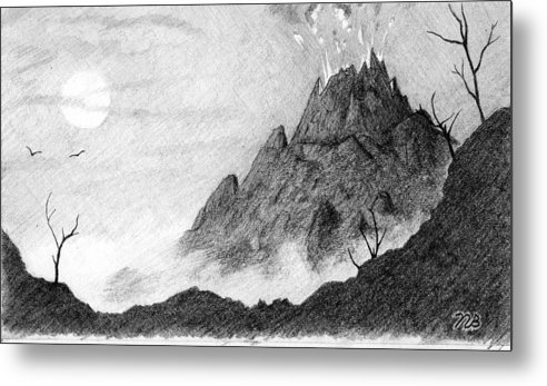 Volcano Metal Print featuring the drawing My Friend Told Me I Should Draw A Volcano by Nils Bifano