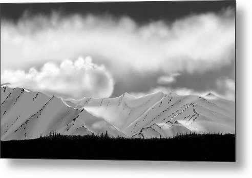 Landscape Mountains Clouds Snow Metal Print featuring the painting Snow In The Mountains by John Shioli