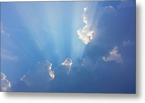 Blue Sky Metal Print featuring the photograph Storm Clouds And Sun by Harriet Harding