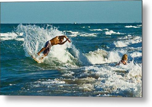 Surfing Metal Print featuring the photograph Surfboarding In Florida by Allan Einhorn