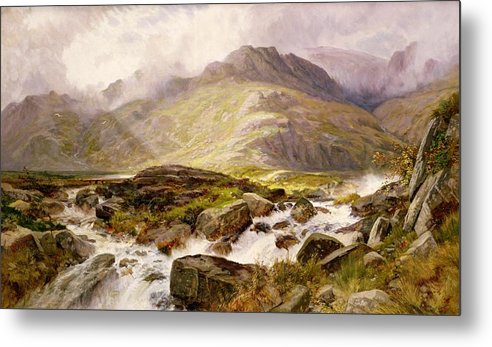 The Metal Print featuring the painting The Glyder Fawr by Edwin Pettitt