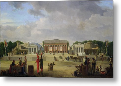 View Metal Print featuring the painting View Of The Grand Theatre Constructed In The Place De La Concorde For The Fete De La Paix by Jean Baptiste Louis Cazin