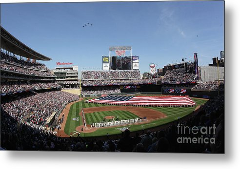 American League Baseball Metal Print featuring the photograph Oakland Athletics V Minnesota Twins by Elsa