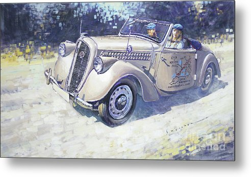 Shevchukart Metal Print featuring the painting 1939 Skoda Roadster 1100 by Yuriy Shevchuk
