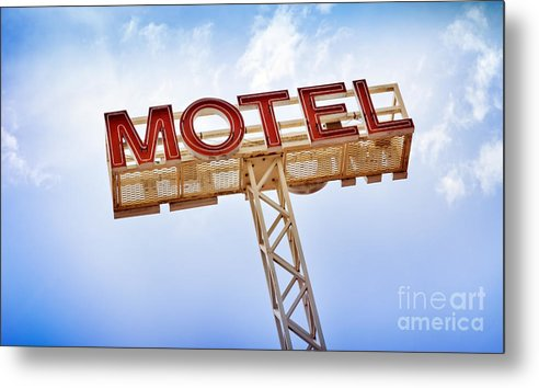 Abandoned Metal Print featuring the photograph Motel Sign by Tim Hester