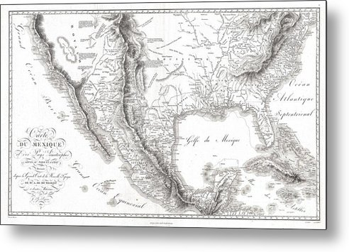 1811 Humboldt Map Of Mexico Metal Print featuring the photograph 1811 Humboldt Map Of Mexico Texas Louisiana And Florida by Paul Fearn