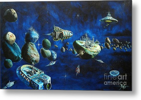 Fantasy Metal Print featuring the painting Asteroid City by Murphy Elliott