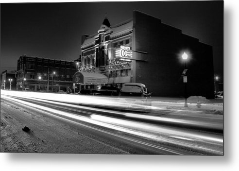 Black And White Light Painting Old City Prime Metal Print featuring the photograph Black And White Light Painting Old City Prime by Dan Sproul