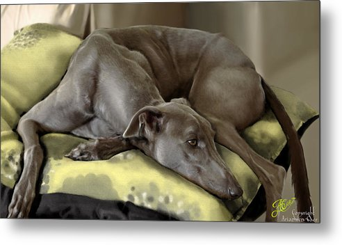Greyhound Metal Print featuring the painting Blue Grey by Ari Caer