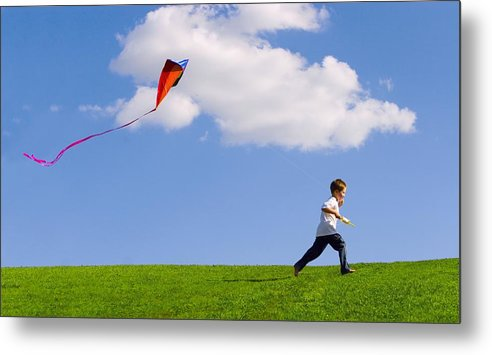 Lifestyles Metal Print featuring the photograph Child Flying A Kite by Don Hammond