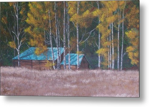 Landscape Metal Print featuring the painting Fall On The Ranch by Gene Ritchhart